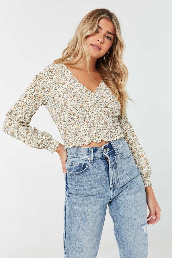 Ditsy Floral Wrap-Front Blouse