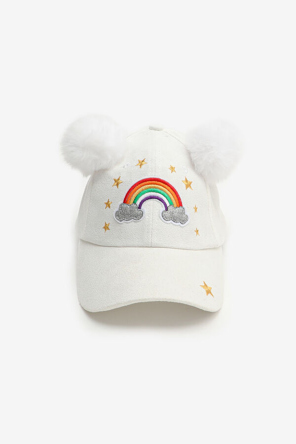Rainbow Cap with Pompoms for girls
