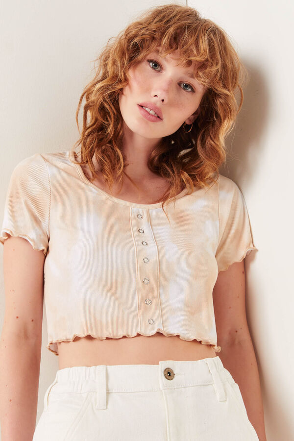 Cropped Tee with Mini Snap Buttons