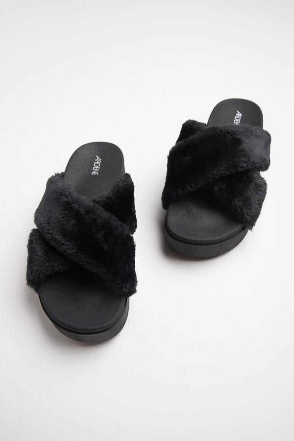 a7dc68a1b341 Ardene Women s Platform Fur Slides