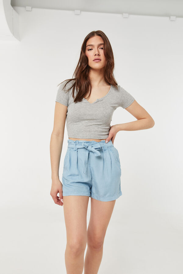 Chambray Paper Bag Shorts