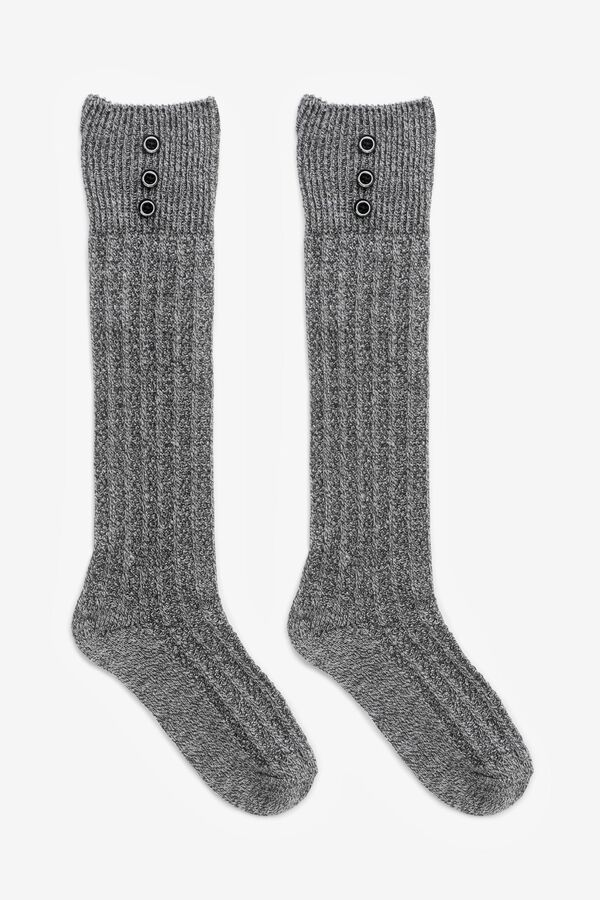 Knee-High Socks with Buttons