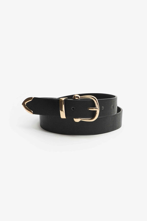 Faux Leather Belt with Gold-Tone Buckle