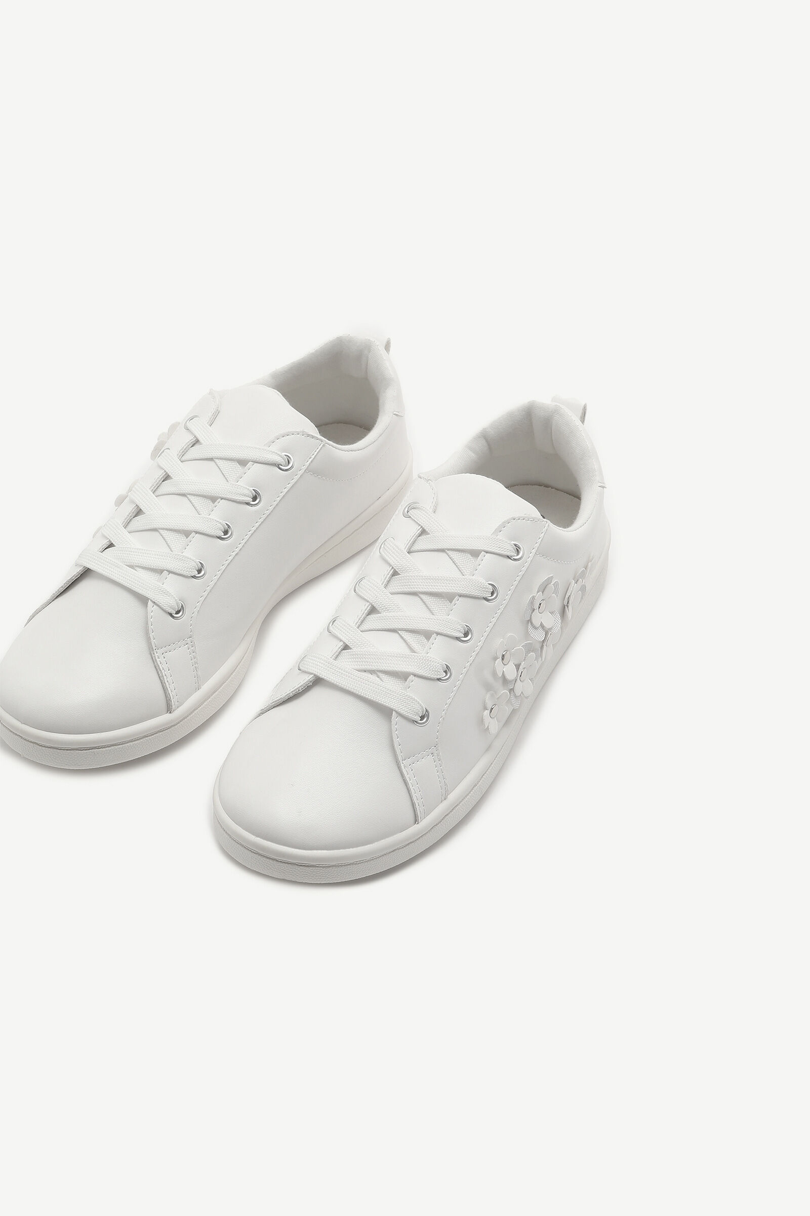 Floral Faux Leather Sneakers - Shoes