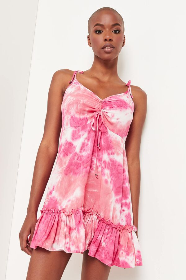 Tie-Dye Dress with Ruched Bust