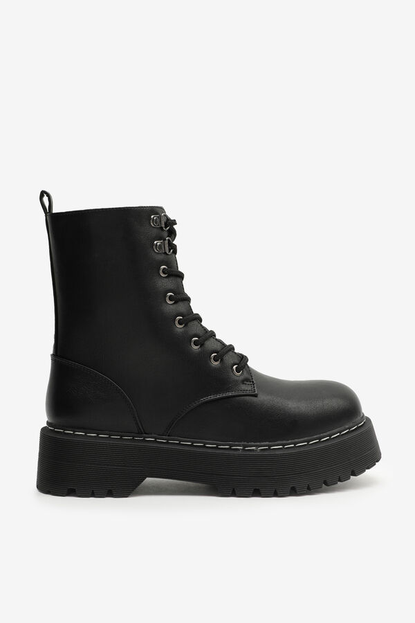 Combat Boots with Chunky Injected Sole