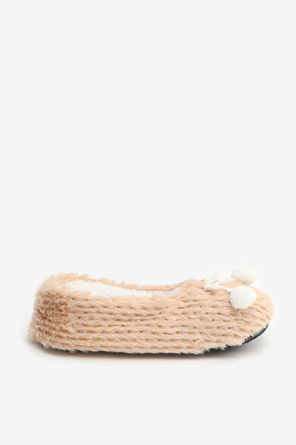 Fuzzy Pompom Ballerina Slippers