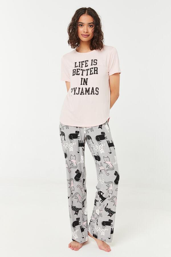 Bas de pyjama évasé à chats