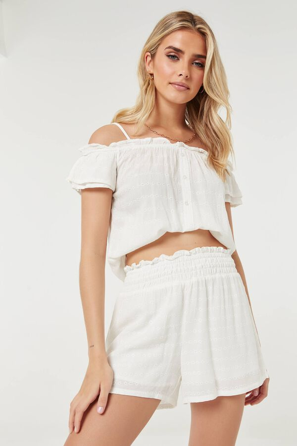 Perforated Cold-Shoulder Top