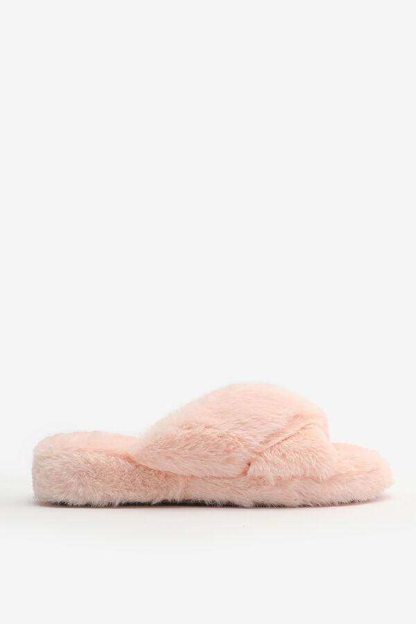 Faux Fur Crossed Slippers