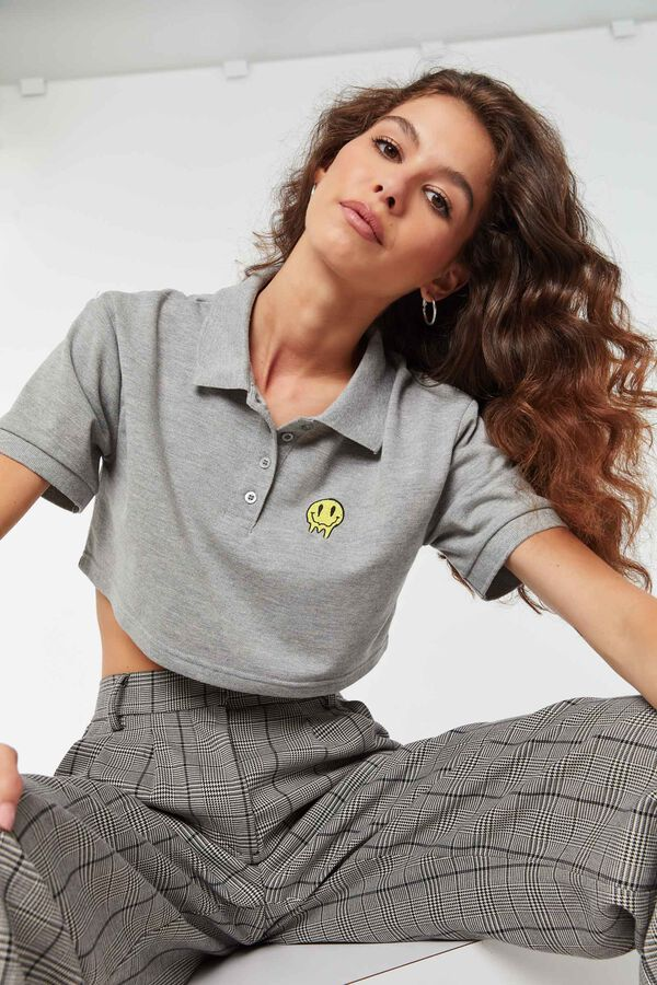 Cropped Polo with Embroidery
