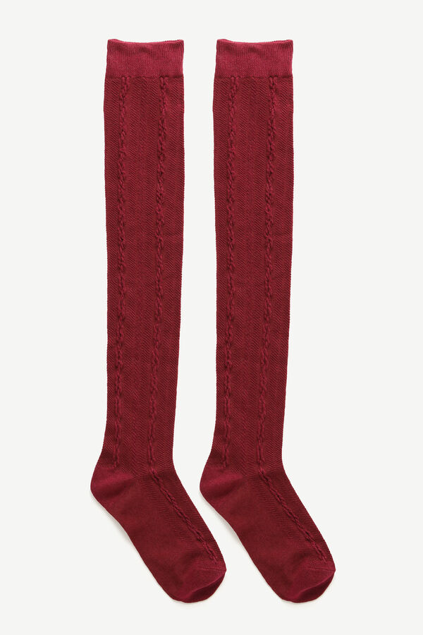 Over-the-Knee Cable Knit Socks