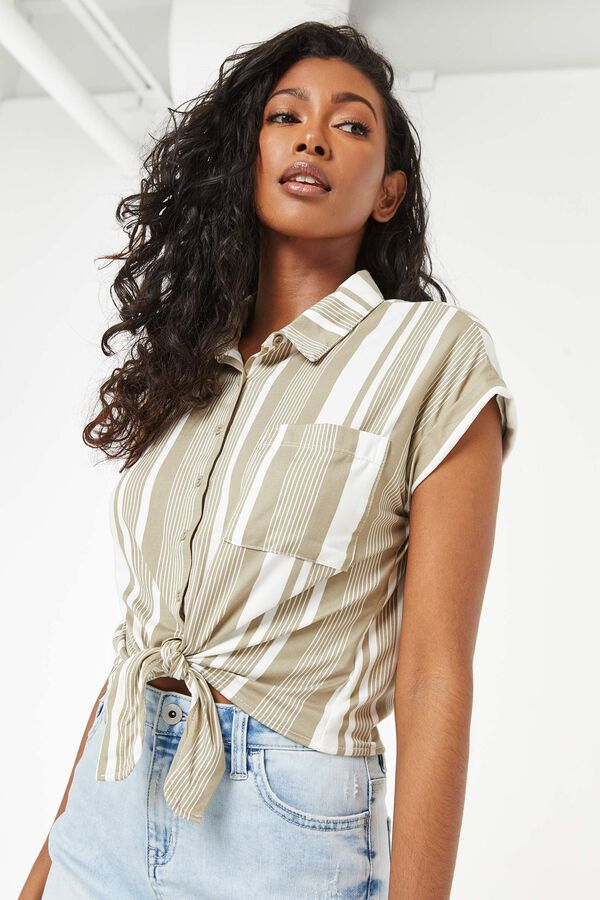 Buttoned Striped Knotted Shirt