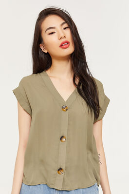 10efb469d589b Button-Front Short-Sleeved Blouse