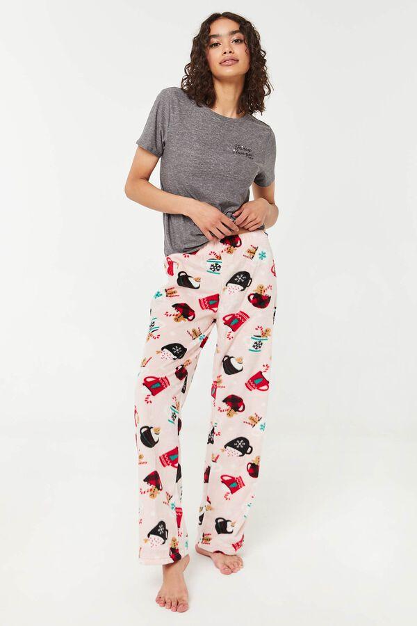 Bas de pyjama évasé en minky à tasses de café