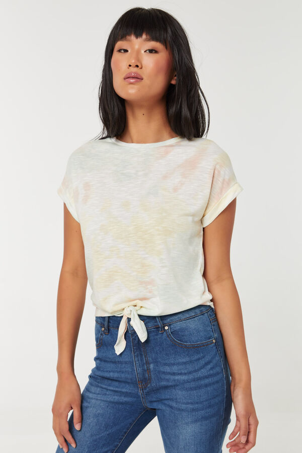 Spiral Tie-Dye Dolman Top with Front Knot