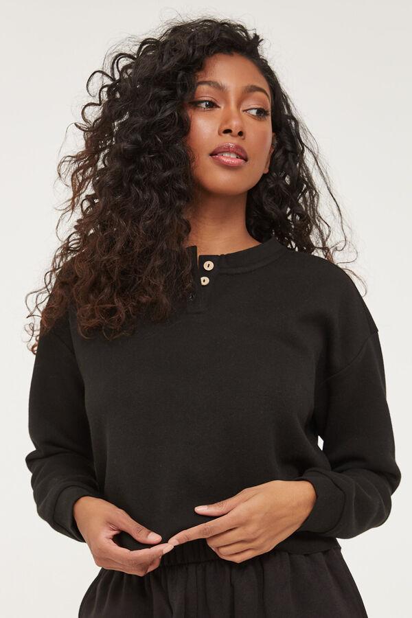 Cropped Henley Sweatshirt
