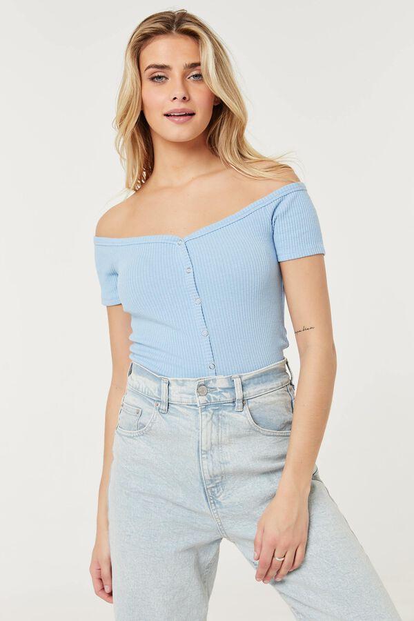 T-shirt Bardot côtelé