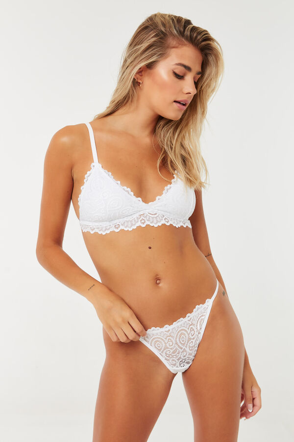 Lace Bralette and Thong Set