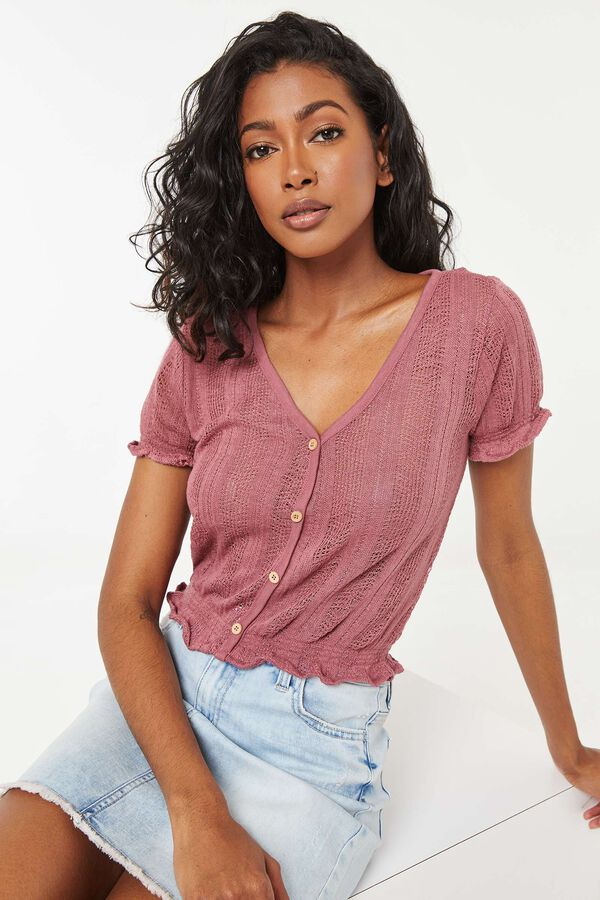 Cropped Buttoned Knit Blouse