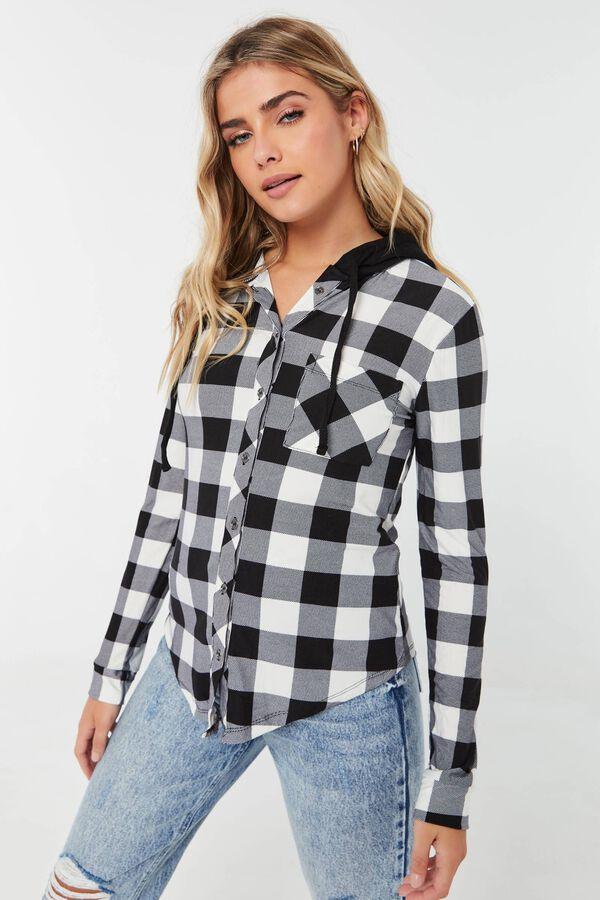 Chemise longue à carreaux à capuchon molletonné
