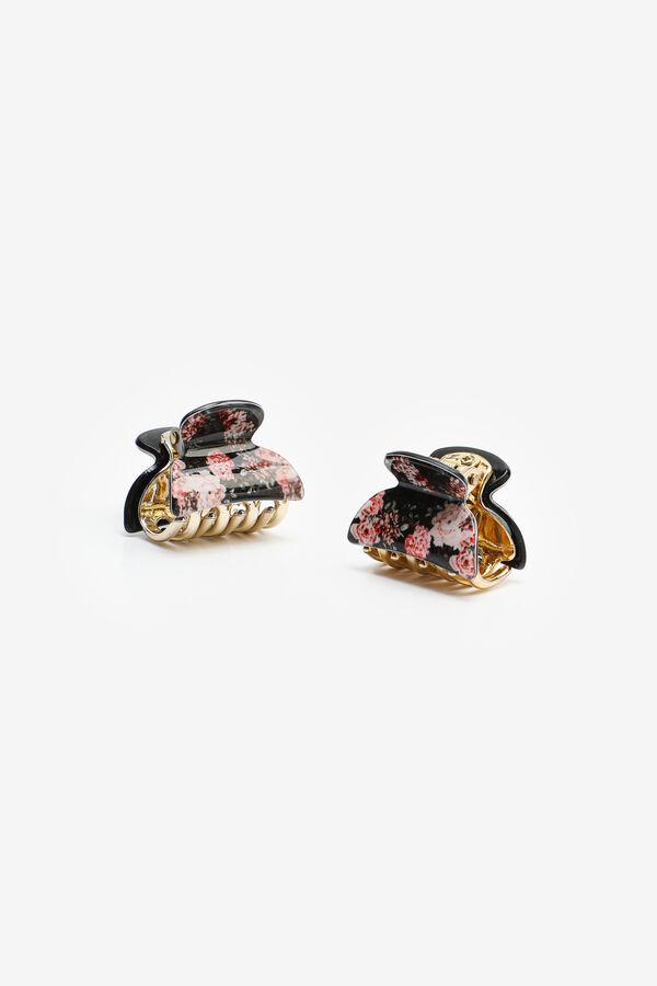 Duo de pinces à cheveux fleuries en acrylique