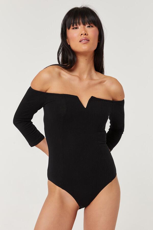 Off Shoulder Cut Out Collar Bodysuit