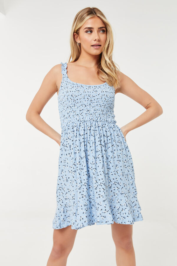 Dainty Smocked Floral Mini Dress