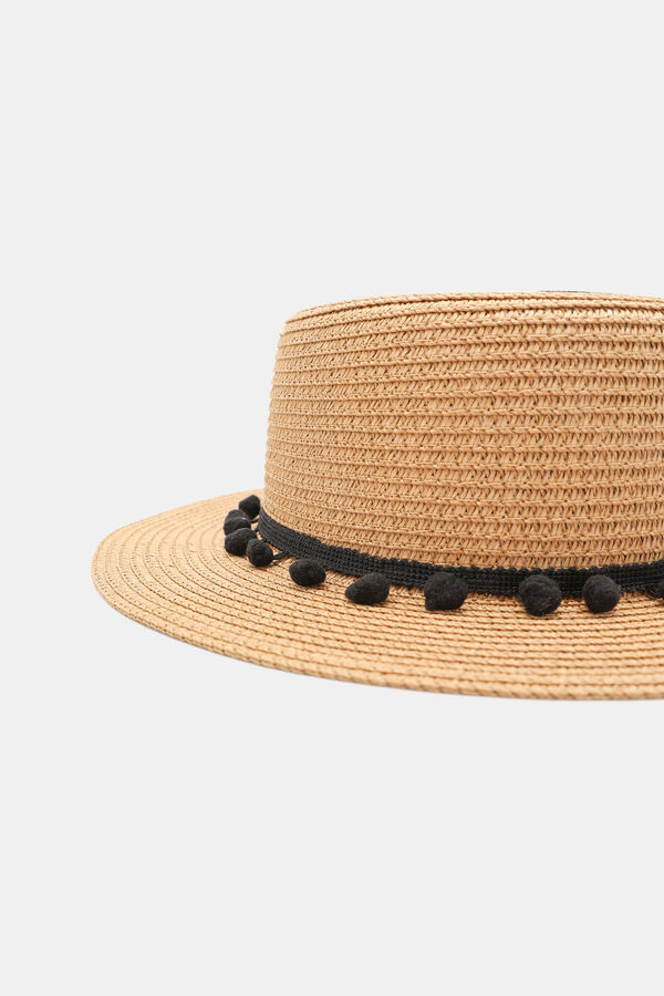 84a9c79a Ardene Ardene Women's Straw Boater Hat with Pompoms, beige, fall winter  2019 ACCESSORIES, ...