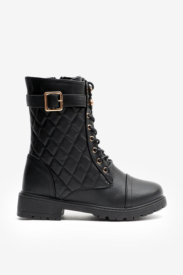 Quilted Cap Toe Combat Boots