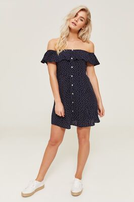 e818b97546e Off Shoulder Polka Dot Dress