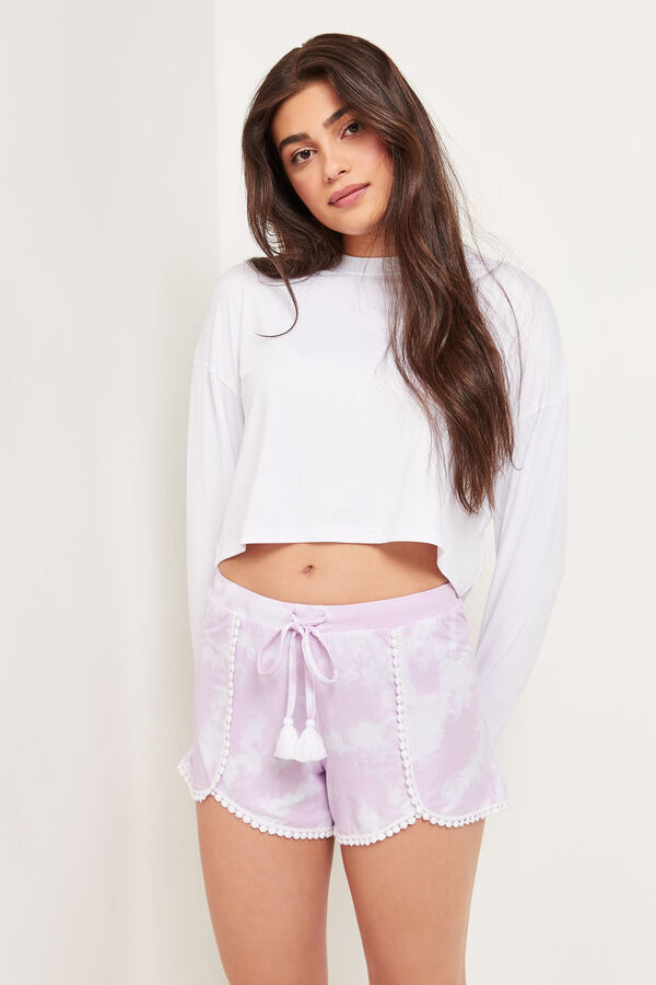 Soft Tie-dye Shorts with Tassels