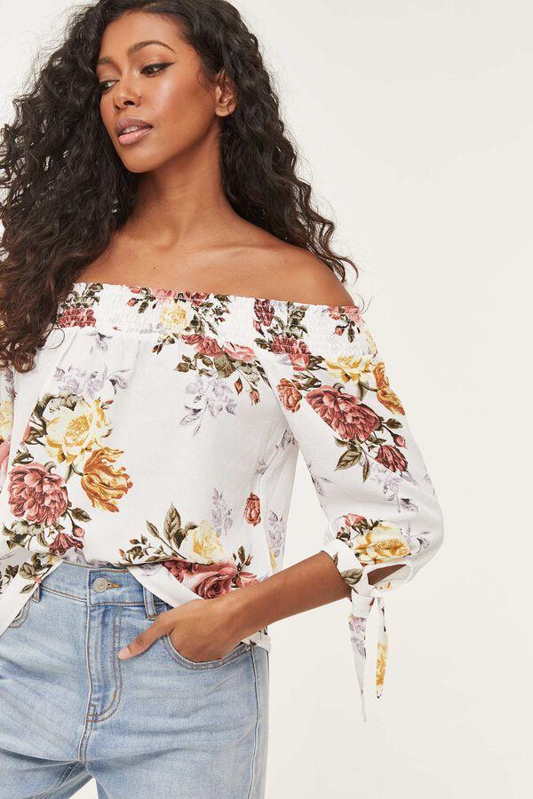 Floral Crepe Off Shoulder Blouse