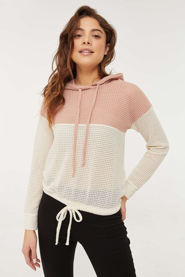 Waffle Knit Color Block Hoodie