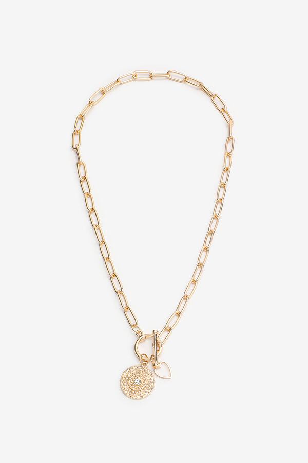Chain Necklace with Heart and Medallion