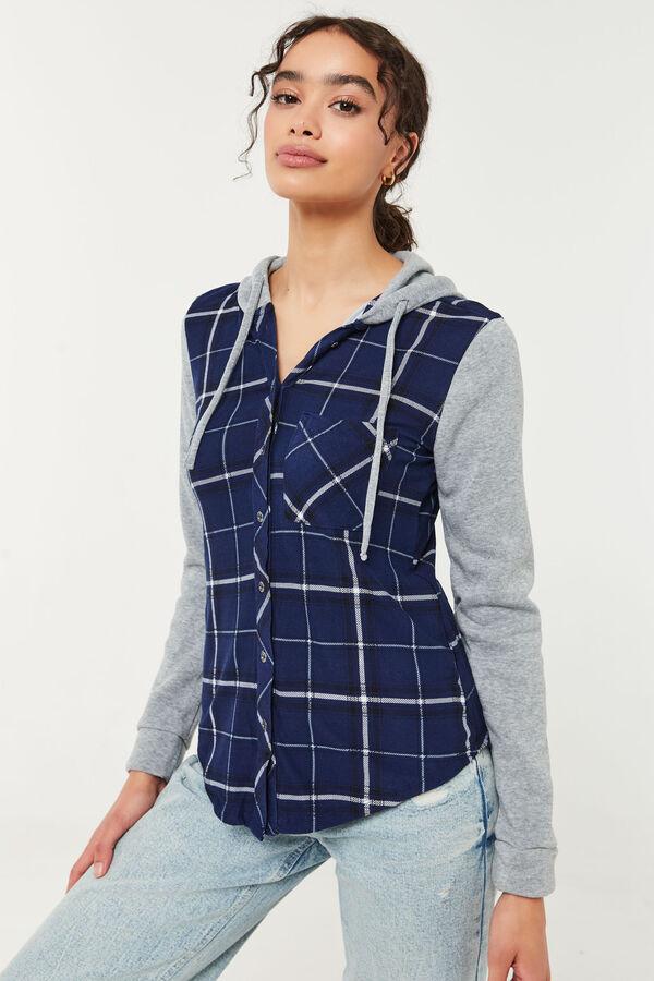 Long Plaid & Fleece Hooded Shirt