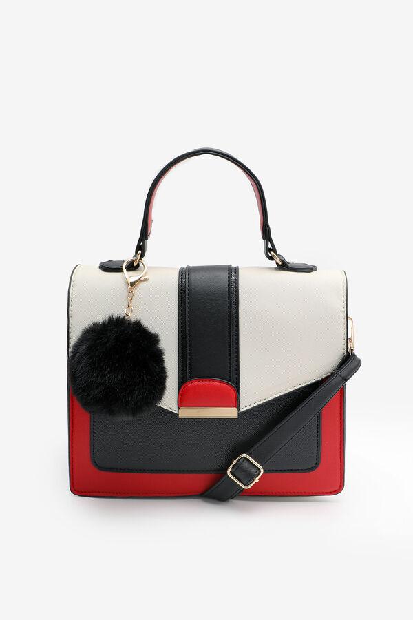 Color Block Mini Tote Bag with Pompom