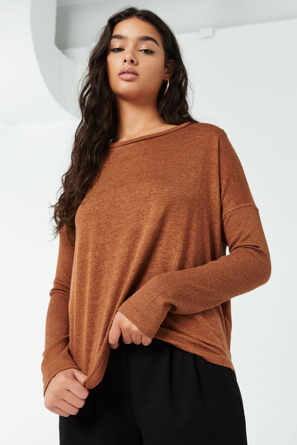 Ribbed-Sleeves Sweater