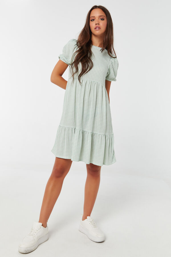 Gingham Tiered Dress with Bubble Sleeves
