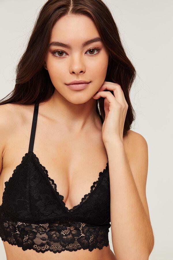 Black Longline Lace Bralette