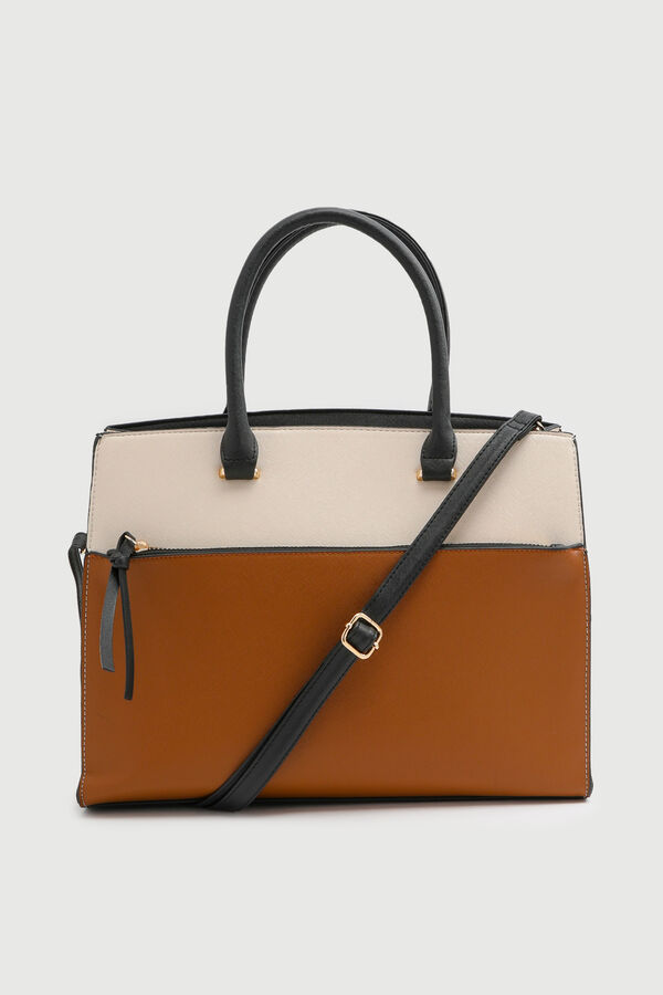 Faux leather Colorblock Tote Bag