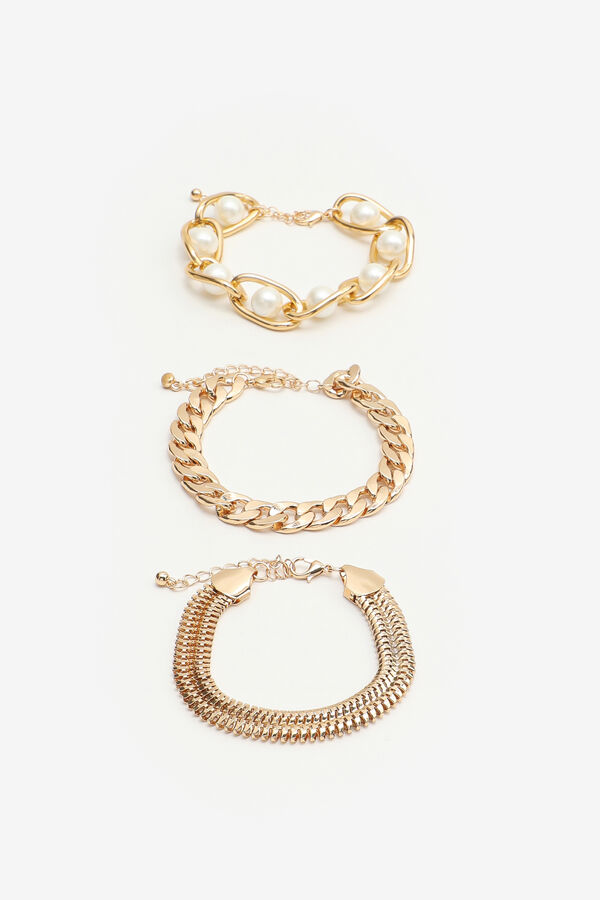 3-Pack of Chain Bracelets with Pearls