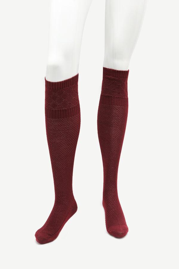 Burgundy Over the Knee Socks