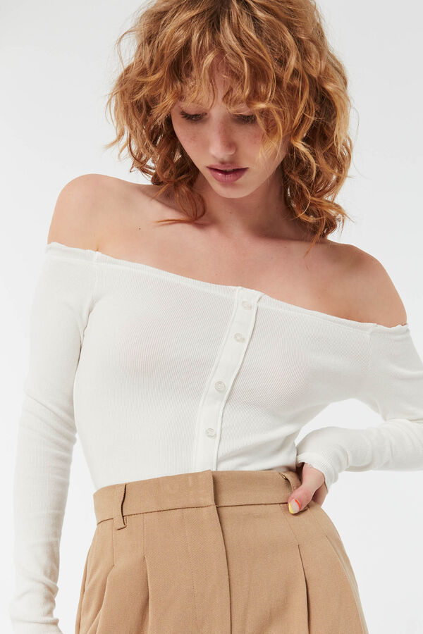 Ribbed Button Front Off-Shoulder Top