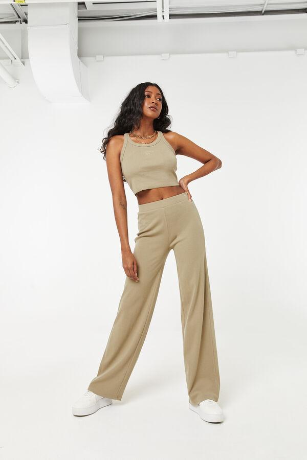 Straight Leg Rib Knit Pants