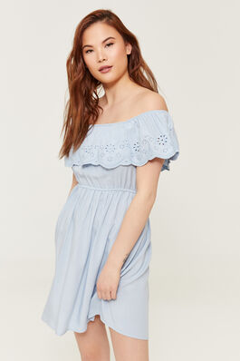 35a40a27d1684 Off Shoulder Dress with Scalloped Flounce