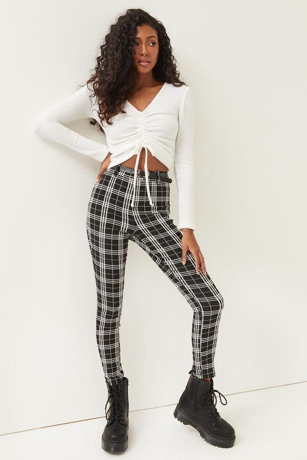 Pantalon à carreaux à ceinture