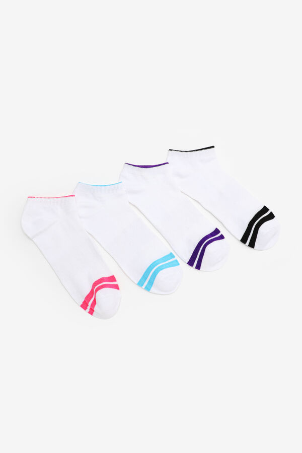 4-Pack of Striped Ankle Socks
