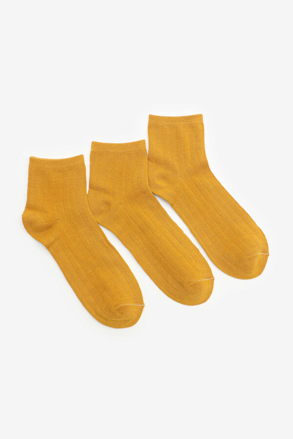 3 Pairs of Rib-Knit Ankle Socks