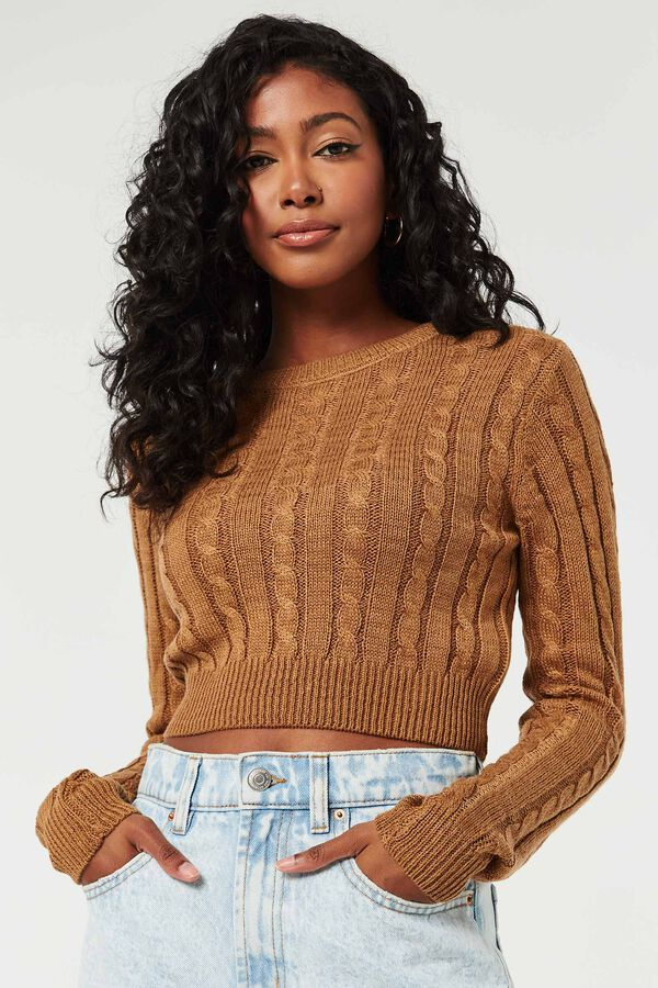 Ultra-Cropped Cable Knit Sweater
